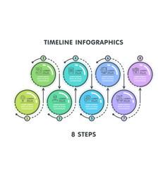 modern 8 steps timeline infographic template vector image vector image