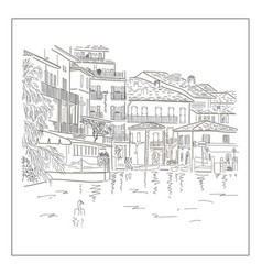 old europian town on the lake hand drawn sketch vector image vector image