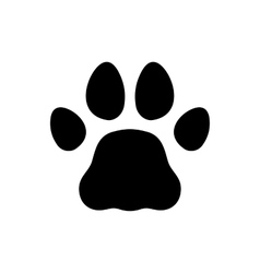 Paw Black Print Icon on White Background vector image
