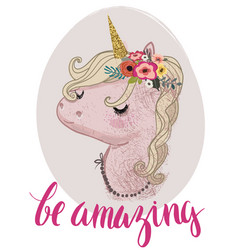 pink cartoon fairytale unicorn vector image