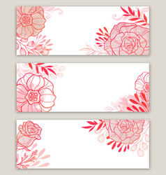Pink floral banners vector