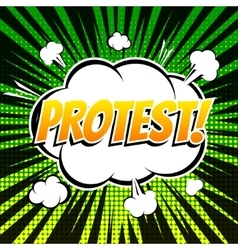 Protest comic book bubble text retro style vector
