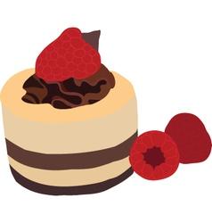 Raspberry mousse cake vector