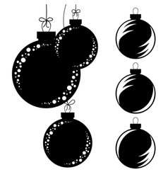 set of flat isolated black and white silhouettes vector image
