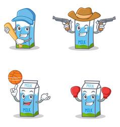 Set of milk box character with baseball cowboy vector