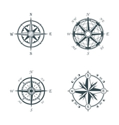 Set of vintage or old different style compasses vector image vector image