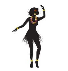 Silhouette of dancing hawaiian with beads vector