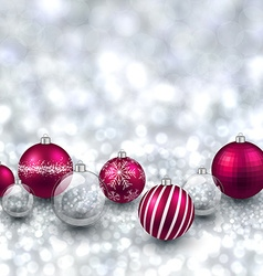 Silver background with magenta christmas balls vector image