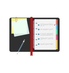 Spiral notepad notebook with to do list and pencil vector image