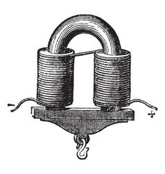 U-shaped Electromagnet vintage engraved vector image