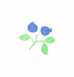 Watercolor blueberry on the white background vector