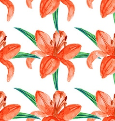 Watercolor lily in vintage style vector image vector image