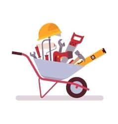 Wheelbarrow full of tools vector