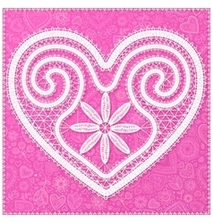 White lace heart on pink ornate background vector
