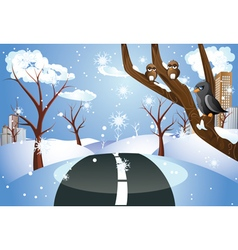 Winter road to city2 vector