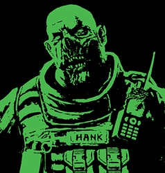 Fat zombie soldiers green high vector