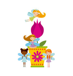 Fairy girls icon vector