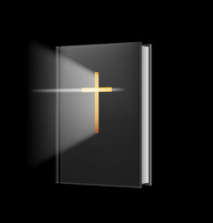realistic bible on black background for design vector image