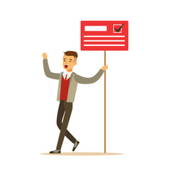 Man holding placard election voting political vector