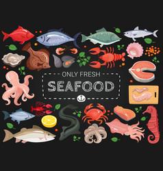 Seafood colorful chalkboard menu poster vector