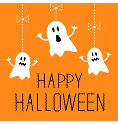 Three hanging halloween ghosts card vector