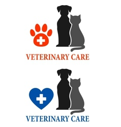 Two signs with pet silhouette vector