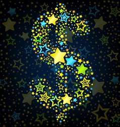Dolar sign cartoon star colored vector