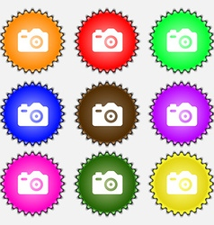 Photo camera icon sign a set of nine different vector