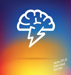 Brain cloud thin line icon vector