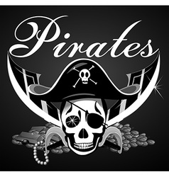 Pirate theme with skull and swords vector
