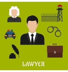 Lawyer and justice flat symbols or icons vector