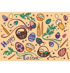 Doodle set of easter vector