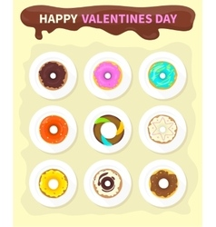 Sweet donuts set design flat food valentine day vector