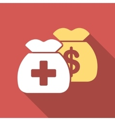 Health care funds flat square icon with long vector