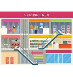 Shopping center storefronts design flat vector