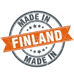 Finland orange grunge ribbon stamp on white vector image