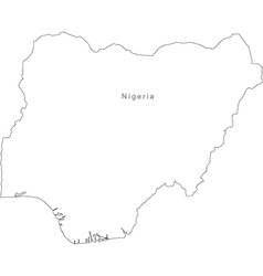Black White Nigeria Outline Map vector image
