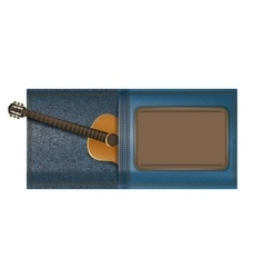 Acoustic guitar in a pocket of jeans vector