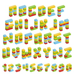 Alphabet set made of toy blocks isolated vector image vector image