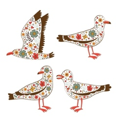 Beautiful collection of floral seagulls vector