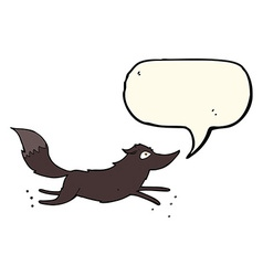 Cartoon wolf running with speech bubble vector