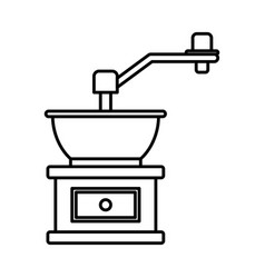 Coffee grinding with crank in monochrome vector