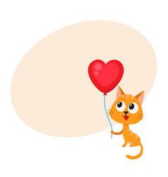 cute and funny cat kitten holding red heart vector image vector image
