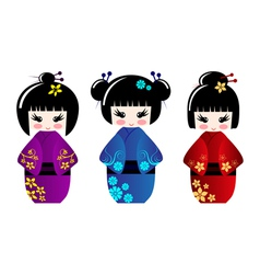 Cute kokeshi dolls vector