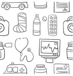 Doodle of medical with white background vector