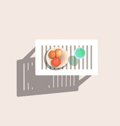 Drink and fruits on table vector
