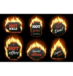 fire labels set vector image