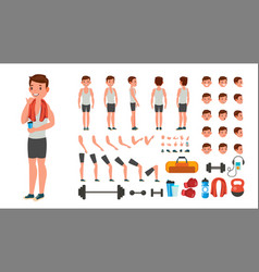 Fitness man animated athlete character vector