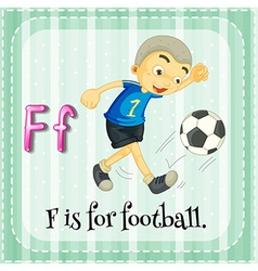 Flashcard letter F is for football vector image vector image