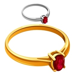 Gold and silver ring with red ruby jewelry vector